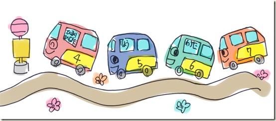 バス誕生表壁面イラスト1