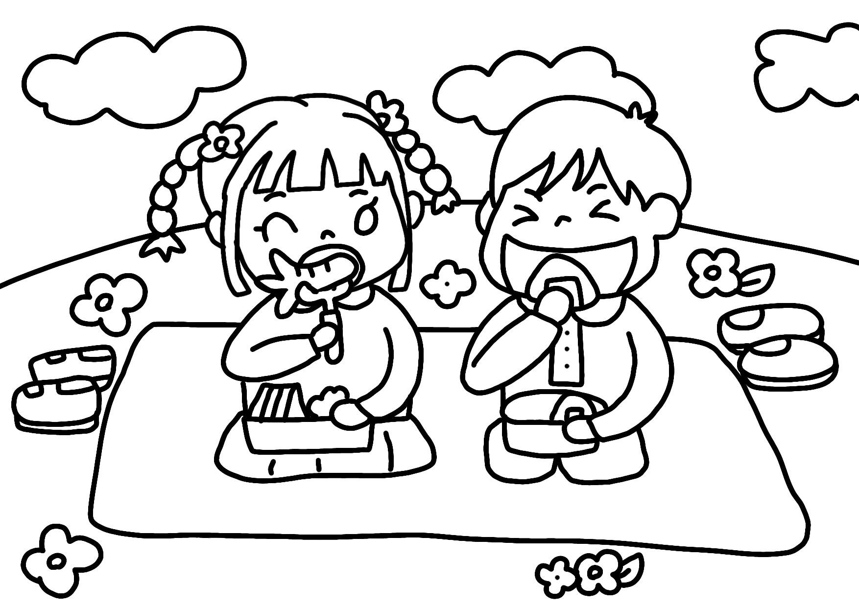 無料ぬりえ4月遠足お弁当バス春の草花イースターエッグ