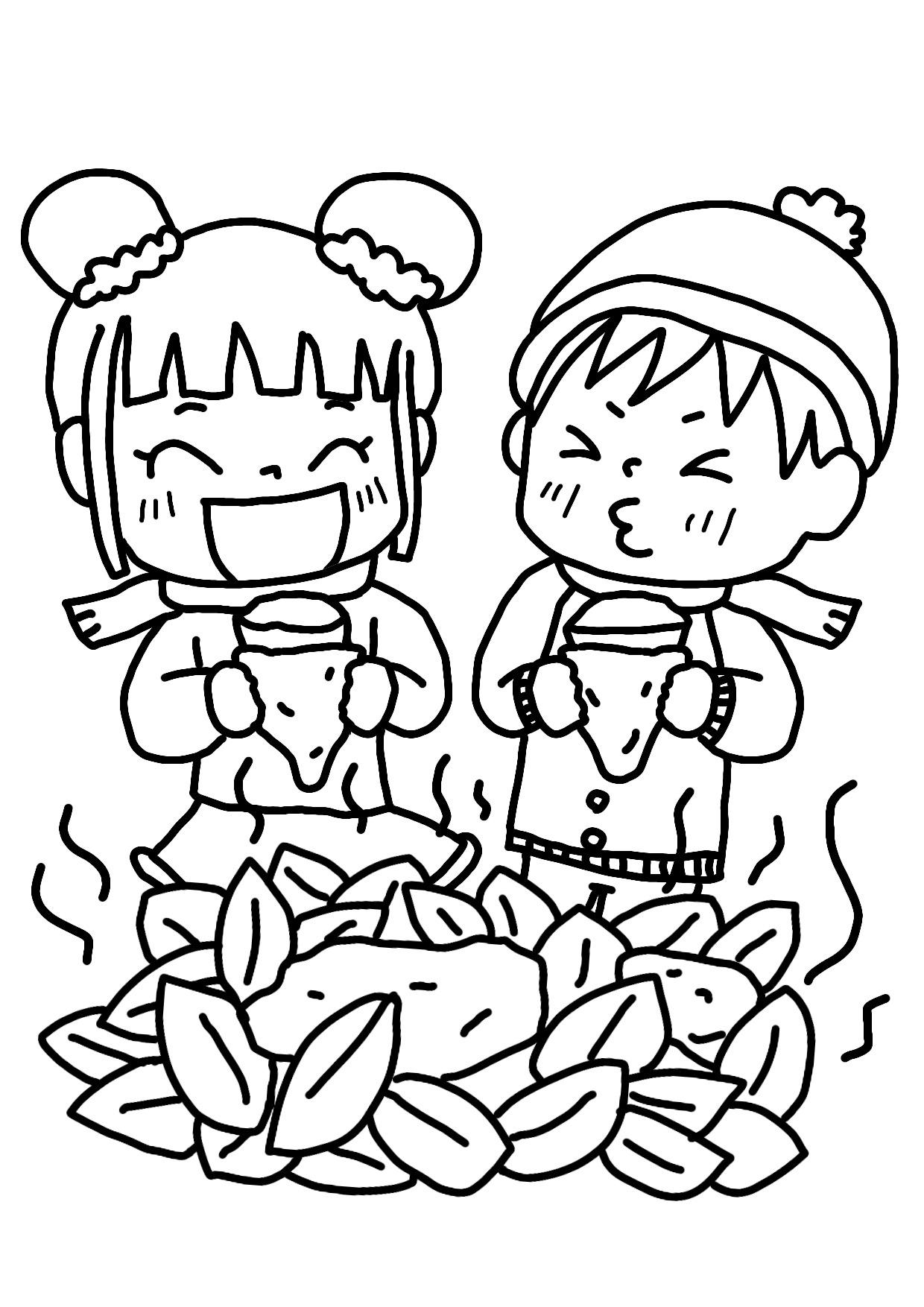 11月の無料ぬりえ】焼き芋、落ち葉、造形展、七五三、千歳飴