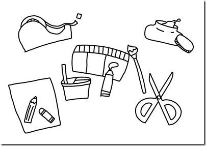 製作の道具(絵の具、クレヨン、はさみ、のり、他)