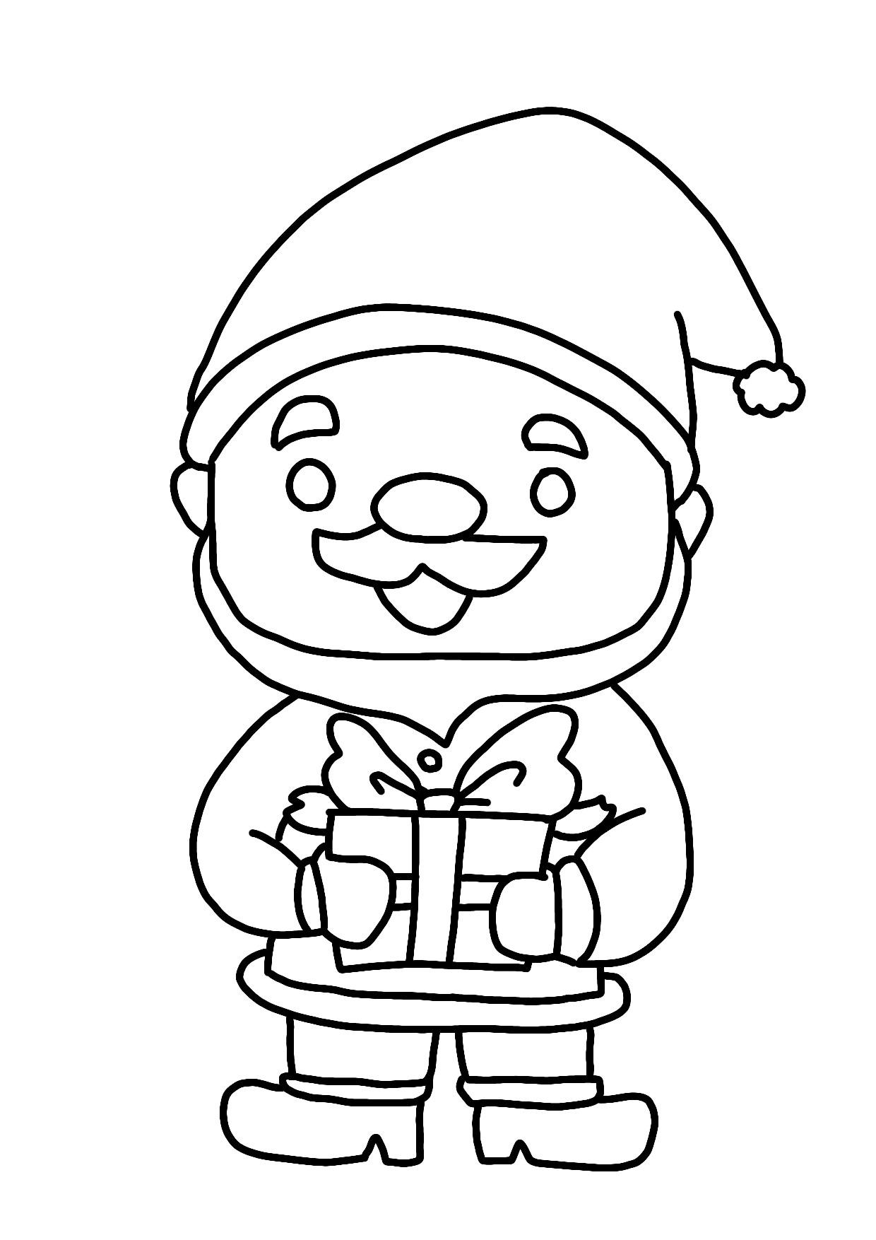 12月の無料ぬりえクリスマスツリーサンタプレゼントbox等保育園